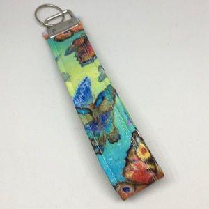 Key Fob Wristlet Keychain In Butterfly Print